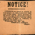 Broadside from mayor of Charlestown urging residents to stay indoors on the nights immediately before John Browns hanging (Gettysburg National Military Park)