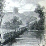 A pontoon bridge at Falling Waters, West Virginia used by Confederate forces in their retreat (Alfred R. Waud, artist; Harpers Weekly, August 15, 1863; NPS History Collection)