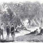 A camp of Confederate soldiers from Virginia in the woods near Leesburg, Virginia, in 1861 (Harper's Weekly, November 9, 1861; NPS History Collection)
