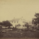 Slaughtered animals and a destroyed fence outside of the Trossel house are a testament to the battle that raged in Gettysburg for three days (July 1863, Timothy H. O'Sullivan, photographer; Library of Congress)