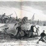 On the Maryland side of the Potomac opposite Falling Waters, the 6th Michigan Cavalry charged the remaining Confederates on July 14, 1863 (Alfred R. Waud, artist; Harpers Weekly, August 15, 1863; NPS History Collection)