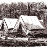 """The camp of topographers in Union General Nathaniel Banks' division, near Hyattstown, Maryland, August 1861 (D.H. Strother, artist; D.H. Strother, """"Personal Recollections of the War"""" Harper's New Monthly Magazine, vol. 33 [ September 1866]: 415)"""
