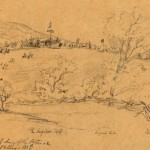 A sketch of General George McClellan's headquarters in Pleasant Valley, Maryland (September 1862, Alfred R. Waud, artist; Library of Congress)
