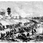 The Confederate charge on Cemetery Hill on the night of July 2nd, 1863 (Louis Shepheard Moat, ed., Frank Leslie's Illustrated History of the Civil War [NY: Mrs. Frank Leslie, 1895], 339)