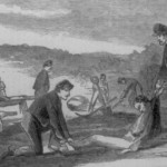 Union soldiers carry dead Confederate soldiers with stretchers or by hand to freshly dug graves (Theodore R. Davis, artist; Harper's Weekly, October 11, 1862; Library of Congress)