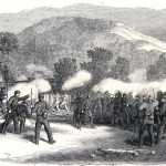 Skirmish between Union forces at Sandy Hook, MD, and Confederate soldiers across the Potomac River in Virginia (Harper's Weekly, August 3, 1861; NPS History Collection)