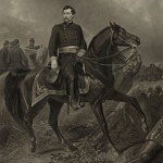 """""""Major General George B. McClellan on the Battle Field of Antietam"""" (painting by C. Schussele, engraving by A.B. Walter, and published by John Dainty, Philadelphia, 1863; Library of Congress)"""