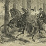 Union General John Reynolds falls from his horse in a wooded area on the battlefield on the first day of the conflict (July 1, 1863, Alfred R. Waud, artist; Library of Congress)