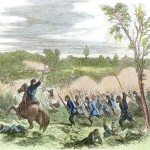 Union soldiers charging into a cornfield in the northern part of the battlefield on the morning of September 17, 1862 (Antietam National Battlefield; an uncolorlized version appeared in Harper's Weekly, October 4, 1862)