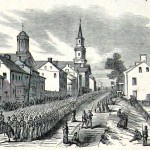 Union soldiers marching through Middletown (Harper's Weekly, October 25, 1862; A.R. Waud, artist; NPS History Collection)