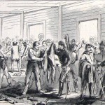 Confederate soldiers appropriated new military clothing from a store in Chambersburg (Mr. Davis, artist; Harper's Weekly, November 1, 1862; NPS History Collection)