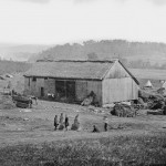 A barn, house, and other outbuildings on a farm near Keedysville were transformed into a sprawling field-hospital following the Battle of Antietam (Sept. 1862, Alexander Gardner, photographer; Library of Congress)