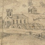 Detail of the right panel of Forbes sketch, showing the tent hospital set up next to St. Johns Lutheran Church (September 1862, Edwin Forbes, artist; Library of Congress)