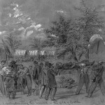 Citizen volunteers carry the wounded of Antietam on stretchers while doctors perform amputations in the background (Sept. 17, 1862, A.R. Waud, artist; Library of Congress)