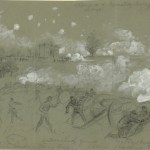 The 5th Maine Light Artillery on Cemetery Hill before Pickett's Charge (July 3, 1863, Alfred R. Waud, artist; Library of Congress)