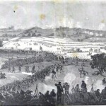 The battlefield on Friday morning, July 3, with Union soldiers rushing to the front lines, past reserve troops waiting in the rear (Edwin Forbes, artist; Frank Leslie's Illustrated Newspaper, July 18, 1863; courtesy of Princeton University Library)