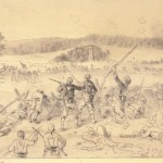 """Edwin Forbes' sketch of Union Colonel Rush Hawkins' """"Zouaves"""" (9th NY Regiment) charging with bayonets on the left flank of the Union line on the afternoon of September 17 (Library of Congress)"""