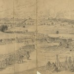 This pencil drawing by Edwin Forbes was used to create the previous image that was printed in Frank Leslie's Illustrated Newspaper (July 3, 1863, Edwin Forbes, artist; Library of Congress)