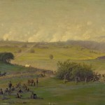 Edwin Forbes' painting of the previous scene presents a simpler image, with much of the activity in the foreground of his original sketch removed (c. 1865, Edwin Forbes, artist; Library of Congress)