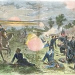 Union General Ambrose Burnside's soldiers holding a ridge on the southern end of the battlefield in the late afternoon (Antietam National Battlefield; an uncolorlized version appeared in Harper's Weekly, October 4, 1862)