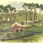 Burnside's division charging across the Lower Bridge (later called Burnside Bridge) (Edwin Forbes, artist, 1862; Library of Congress; an uncolorized version appeared in Frank Leslie's Illustrated Newspaper, October 11, 1862)