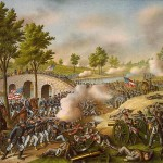 """""""Battle of Antietam,"""" lithograph by Kurz and Allison, 1888, showing the fighting around Burnside Bridge (Library of Congress)"""