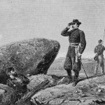 Union General G.K. Warren surveys the battlefield from the signal station on Little Round Top (c.1888; Library of Congress)