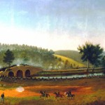 """""""A Fateful Delay"""" by Captain James Hope, showing Union troops crossing Burnside Bridge; the delay in getting more troops across, however, prevented the Union soldiers from holding their position and they were forced to retreat (James Hope, artist, painted by 1892; Antietam National Battlefield)"""