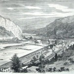 A view of the destroyed armory in Harpers Ferry and the partially-constructed pontoon bridge (Harpers Weekly, October 4, 1862; NPS History Collection)