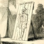 """Target practice with """"General Beauregard"""" at Camp Meredith (Harper's Weekly, July 6, 1861; NPS History Collection)"""