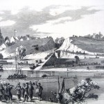 General Nathaniel Banks' Union forces crossing the Potomac at Williamsport in June 1862, with the band of the 46th Pennsylvania Volunteers playing on the Virginia shore (Frank Leslie's Illustrated Newspaper, July 5, 1862; Edwin Forbes, artist; courtesy of Princeton University Library)
