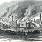 Before leaving Chambersburg, the Confederates burned the towns railroad engine shops and machine shops (Mr. Davis, artist; Harper's Weekly, November 1, 1862; NPS History Collection)