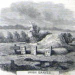 Union graves marked by planks and fence posts, before reinterring in the new cemetery (Joseph Becker, artist; Frank Leslies Illustrated Newspaper, December 5, 1863; courtesy of Princeton University Library)