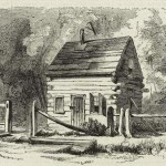 The schoolhouse near the Kennedy Farm where pikes and arms were stored (David Hunter Strother, artist; Harpers Weekly, Nov. 12, 1859; New York Public Library, digitalgallery.nypl.org)