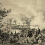 """""""Battle of Gettysburg, Pa., July 2nd and 3rd, 1863,"""" lithograph by J.H. Bufford, 1864 (October 18, 1864; Library of Congress)"""