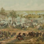 A scene from Paul Philippoteaux' 1883 Gettysburg cyclorama, depicting Picketts Charge (Library of Congress)