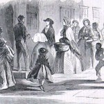 Women and children from Hagerstown, Maryland bring baskets of supplies to aid the wounded soldiers in the town (Harpers Weekly, October 11, 1862; NPS History Collection)