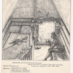 """A sketch of the interior of winter quarters for members of the Independent Battery I of the Pennsylvania Light Artillery, Maryland Heights, December 1863; drawn by David McNeely Stauffer, one of the residents of the """"Boarding House"""" (Courtesy of Pearce Collection, Navarro College)"""