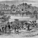 Pickets firing on one another across the Potomac River near Shepherdstown after the Battle of Antietam (courtesy of Timothy R. Snyder; A.R. Waud, artist; originally published in Harper's Weekly, October 11, 1862)