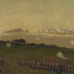Confederate forces participating in Picketts charge march toward the center of the Union army around 3 P.M. on the last day of combat at the Battle of Gettysburg (c.1865, Edwin Forbes, artist; Library of Congress)