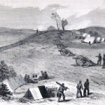 A Union battery looks over the road to Charlestown from its position on Bolivar Heights near Harpers Ferry (A. Lumley, artist; The New-York Illustrated News, November 8, 1862; courtesy of Princeton University Library)