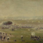 Union forces fend off the surging Confederate troops during Pickett's Charge (c.1865, Edwin Forbes, artist; Library of Congress)