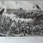 The Confederate charge on July 3 is repulsed by Union soldiers in this Currier and Ives lithograph (U.S. Army Military History Institute)