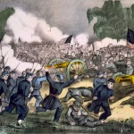 In another Currier and Ives print, the Union forces charge the Confederate lines (c. 1863, Currier & Ives, publisher; Library of Congress) <br />