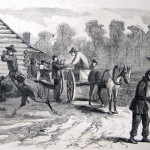 Union soldiers getting rations of hard tack after the Battle of Gettysburg (F. H. Bellew, artist; The New-York Illustrated Newspaper, August 8, 1863; courtesy of Princeton University Library)