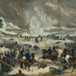 Union General George Meade, on the white horse in lower right, directs his forces during Pickett's Charge (c. 1867, William C. Robertson, printer; Library of Congress)