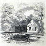 The battered exterior of this old church, known as the Dunker Church, and the corpses scattered around the building are testaments to the desperate fighting in this area (Frank Leslie's Illustrated News, November 1, 1862; courtesy of Princeton University Library)