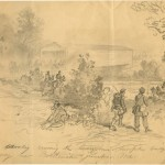 Confederate cavalry crossing the Georgetown Turnpike Bridge at Monocacy Junction on their way to Frederick (Francis H. Schell, artist [Sept. 1862]; Becker Archive, Boston College
