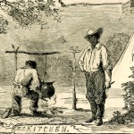 """The """"kitchen"""" at Camp Meredith (Harper's Weekly, July 6, 1861; NPS History Collection)"""