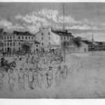 Stuart and his men leaving Chambersburg, sketched October 11, 1864 by John R. Chapin (Library of Congress)